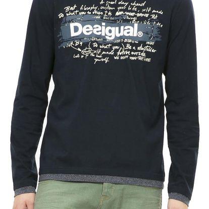 Desigual modré pánské triko Branding Letts - L