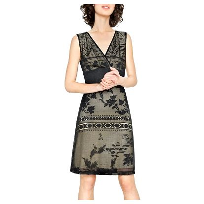 Desigual černé krajkové šaty Elga - XL