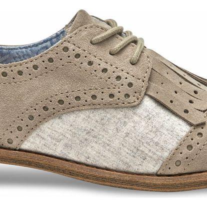 Toms béžové polobotky Desert Taupe Suede/Wool With Kiltie - 41