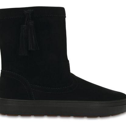 Crocs černé kožačky Lodgepoint Suede Pullon Boot - W10