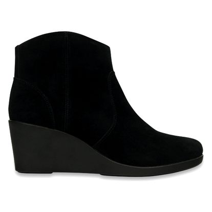 Crocs černé boty na klínku Leigh Suede Wedge Bootie Black - W6