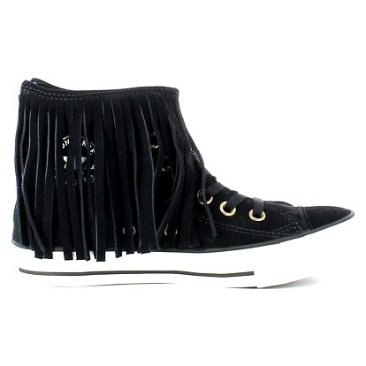 Converse černé kožené tenisky Fringe s třásněmi - 37