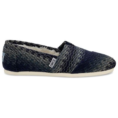 Toms modré espadrilky Blue Multi Stripe Woven With Shearling - 40