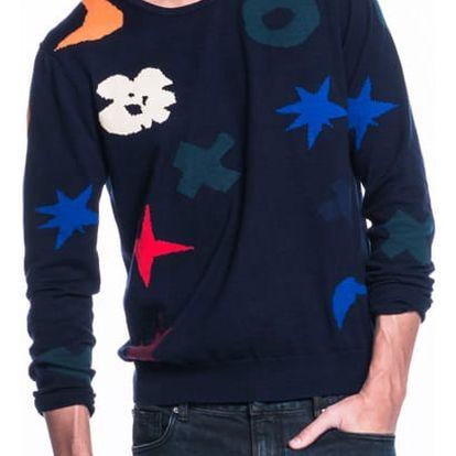 Scotch&Soda modrý pánský svetr s barevnými vzory - XXL