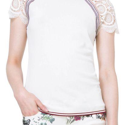 Desigual smetanový svetrový top Lace Sleeve T-Shirt - S