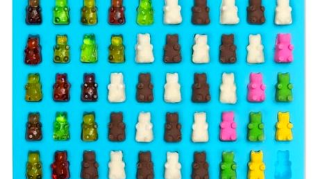 Formička na gumové medvídky s kapátkem - 6 barev - modrá - dodání do 2 dnů