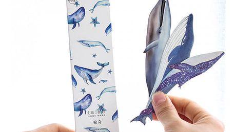 Záložka do knihy - velryba - 30 ks