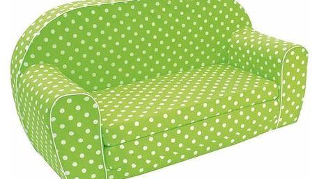 Dětská pohovka Bino, zelená s puntíky
