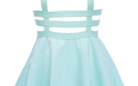 Pohodlná mini sukně s ramínky - bílá, modrá