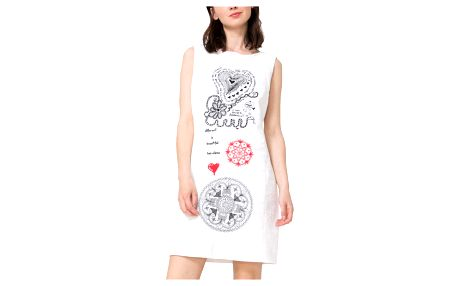 Desigual bílé šaty Tossa De Mar - 38