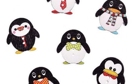 Sada dřevěných knoflíků s tučňákem - 50 ks - dodání do 2 dnů