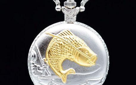Vintage kapesní hodinky pro rybáře ve stříbrné barvě - dodání do 2 dnů