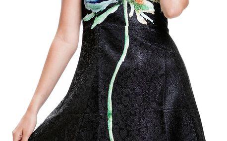 Culito from Spain černé šaty s květinou Flor azul - L