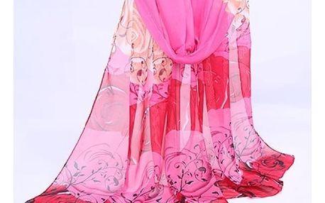Dámský šátek v jemném provedení - růžová a červená - dodání do 2 dnů