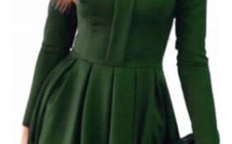 Elegantní šaty s dlouhým rukávem a krajkou - 2 barvy