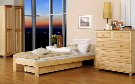 Dřevěná postel Ada 160x200 + rošt ZDARMA ořech