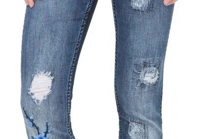 Desigual modré džíny Irene s výšivkami - 26