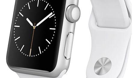 Chytré hodinky Apple Watch, 38mm pouzdro z nerezové oceli – bílý sportovní řemínek (MJ302HC/A)