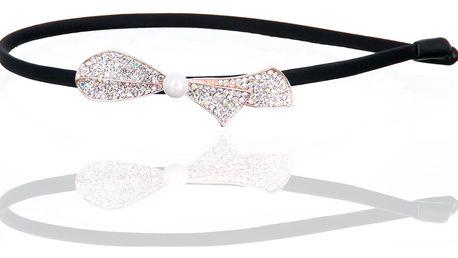 Fashion Icon Čelenka do vlasů mašle s krystalky a perlou zlatá