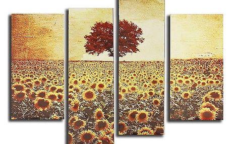 Bezrámová olejová malba slunečnicového pole - 4 ks