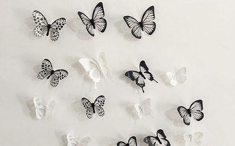 3D nálepky motýlků na zeď, lednici nebo nábytek