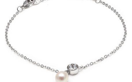 Náramek s bílou perlou a Swarovski krystalem GemSeller Carnea