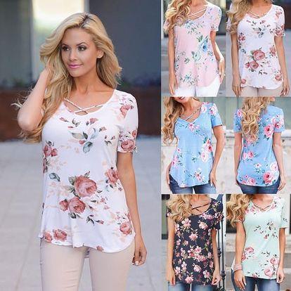 Dámské tričko s květinovým potiskem Lotta