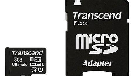 Paměťová karta Transcend 8GB UHS-I U1 (90MB/s) + adapter (TS8GUSDHC10U1)