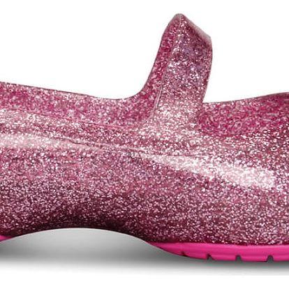 CROCS dětské balerínky Carlisa Glitter Flat Carnation/neon magenta - C8