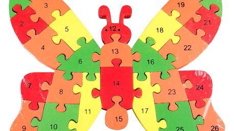 Dřevěné dětské puzzle pro rozvoj jemné motoriky Motýl