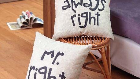 Povlak na polštář s vtipným nápisem - Mr. Rigth