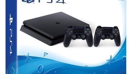 PlayStation 4 Slim, 1TB, černá + 2x DualShock 4 v2 - PS719893653 + Hra inFamous Second Son v ceně 900 kč