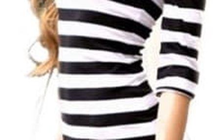 Dámské pruhované šaty pod kolena