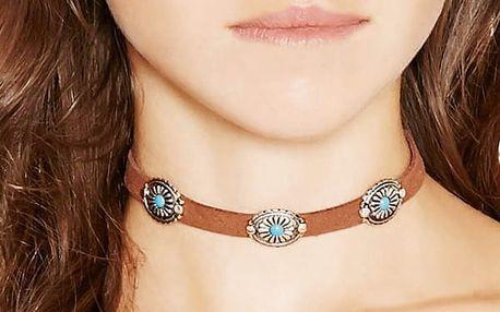 Vintage choker náhrdelník s kovovými květy - 3 barvy