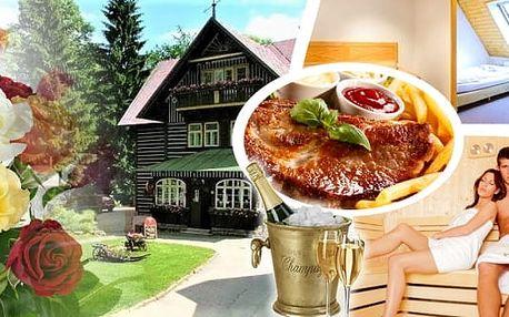 Romantický pobyt v 3* hotelu Tři Růže Špindlerův Mlýn pro 2 osoby na 2-4 noci. Romanticky nazdobený pokoj, bohaté snídaně, večeře při svíčkách, lahev sektu, ovocná mísa a sauna. Nechte se rozmazlovat a užijte si pořádnou dávku relaxace jen pro Vás dva.