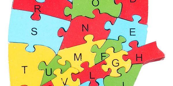 Dřevěné dětské puzzle pro rozvoj jemné motoriky Papoušek