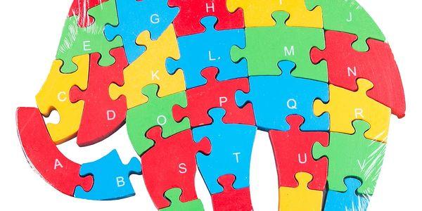 Dřevěné dětské puzzle pro rozvoj jemné motoriky Slon