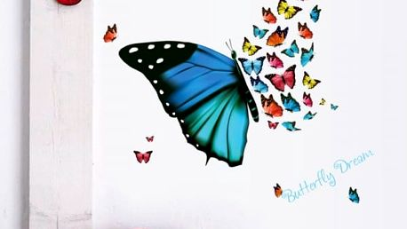 Samolepka na zeď - Hejno barevných motýlků