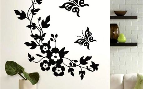 Samolepka na zeď - Květiny s motýlky