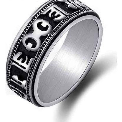 Černo-stříbrný prstýnek se znaky