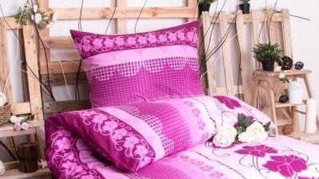 XPOSE ® Prodloužené bavlněné povlečení AMÁLIE - fialová 140x220, 70x90