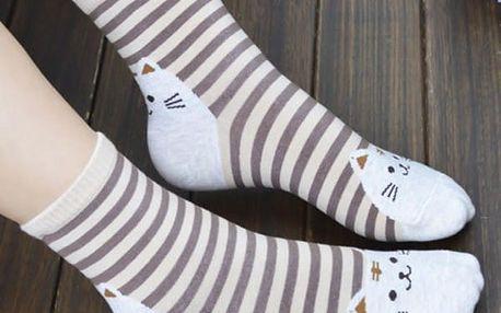 Dámské ponožky s veselými kočkami - 2 barvy - dodání do 2 dnů