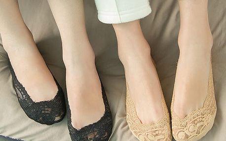 Dámské krátké krajkové ponožky - černá - dodání do 2 dnů