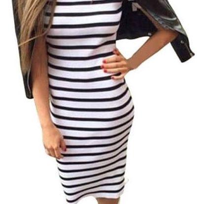 Ležérní proužkované šaty s krátkým rukávem - 2 varianty