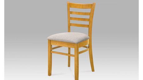 Jídelní židle, dub, potah hnědo-šedý