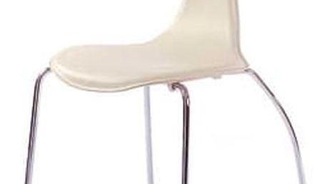 židle chrom/koženka krémová