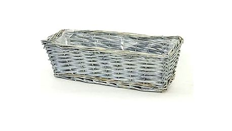 Proutěný truhlík obdélníkový, šedivá barva
