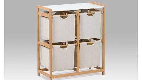 Regál bambusový 4-šuplíky (šuplíky v šedivé barvě)