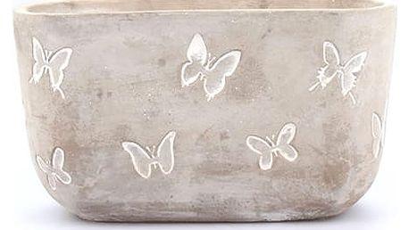 Betonový obal na květináč Motýli, 21,5 cm, BK4124