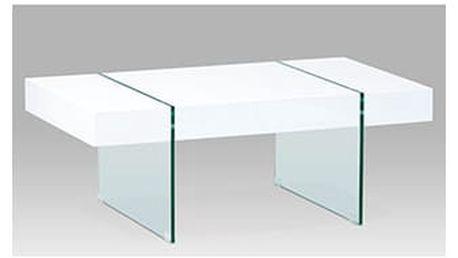 Konferenční stolek, vysoký lesk bílý/čiré sklo